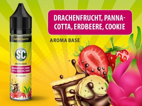 Vape Base - Drachenfrucht, Pannacotta, Erdbeere, Cookie 0mg/ml 50ml